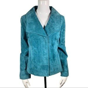 Live a Little Women's Teal Suede Leather Jacket Sm